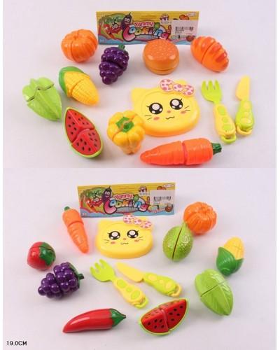 Овощи и фрукты 5020A-18/19 2вида,делятся пополам, нож, досточка,  в пак.19см