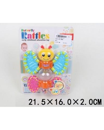 """Погремушка в ручку 826-27 (1725799) бабочка, мелкие шарики внутри, функция""""трещотка"""", на планш"""