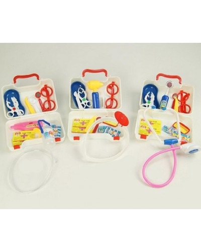 Доктор 071101ABC 14 дет., 3 вида, стетоскоп, очки, шприц, грелка, в чемоданчике,19*12