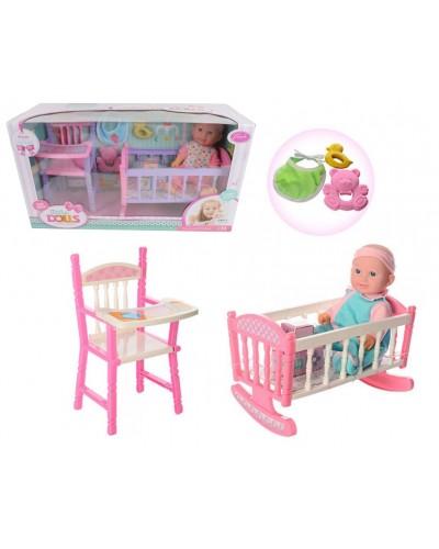 Пупс муз MS13101B с кроваткой, стулом, слюнявчик, игрушка, в кор. 55,5*20,5*30,5см