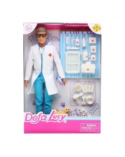 """Кукла """"Кен""""Defa Lucy""""Ветеринар"""" 8347  с пиотомцами,набором для ухода,в кор.28см"""