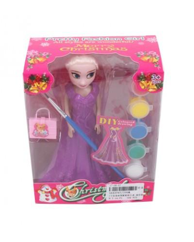 """Кукла """"F"""" 700M кисточка и краски для рисунков на платье, в кор.13*7*16,5см"""