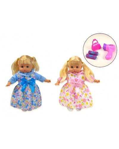 Кукла муз MC1607 2 вида, 4 звука, сумочка, фен, бигуди, в кор. 26*10*32 см