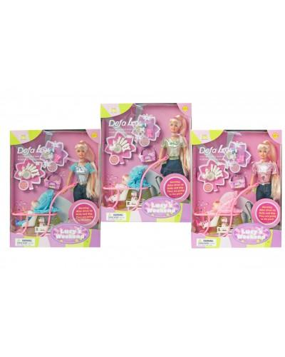 """Кукла """"Defa Lucy"""" 20958 3 вида, с куколкой, коляской, собачкой, 29см, в кор.26*6,5*34см"""
