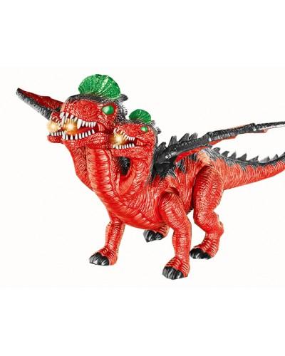 Животное 829A динозавр трехглавый, батар., свет, звук, в коробке 45*25*42см