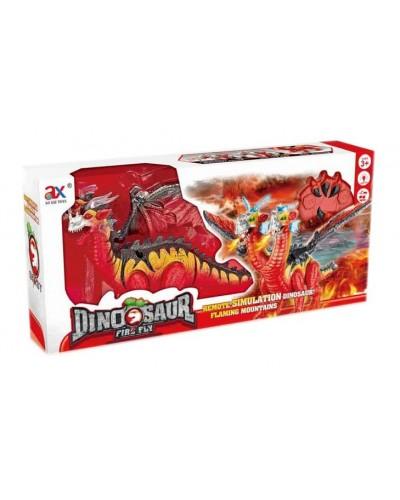 Животное 843A динозавр двуглавый, батар., свет, звук, в коробке 56*26*12см