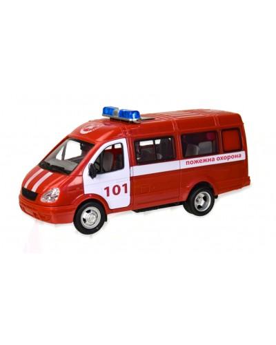"""Машина батар. 7661-1 """"АВТОПРОМ"""" """"Пожежна охорона"""", свет, звук, откр. двери, в коробке 23,5*11*"""