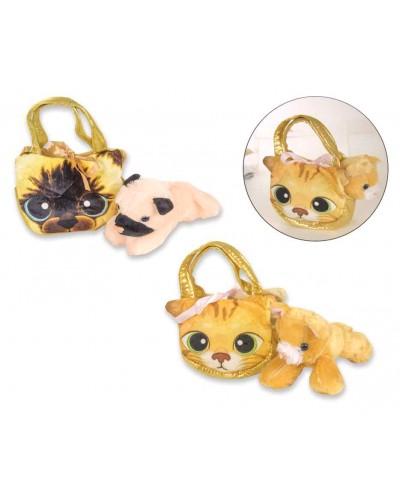 Мягкая игрушка CLG17054 животное в сумочке, 2 вида, в пакете 22*19*7 см