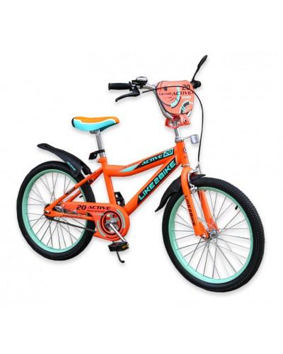 """Велосипед детский 2-х колёсный 20"""" 192030 Like2bike Active, оранжевый, без тренировочных колёс"""