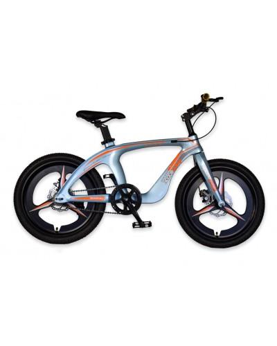 Велосипед 2-х колес 20'' M20303 ГОЛУБОЙ, рама из магниевого сплава, подножка, руч.тормоз, без до