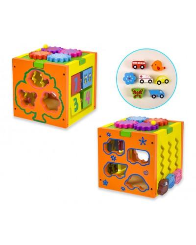 Деревян. куб-логика WD1901 сортер, шестеренки, в коробке 17*16*17 см