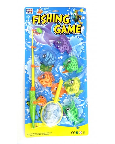 Рыбалка 325-A101 2 вида, удочка, 6 рыбок, на планшетке 25,8*53см
