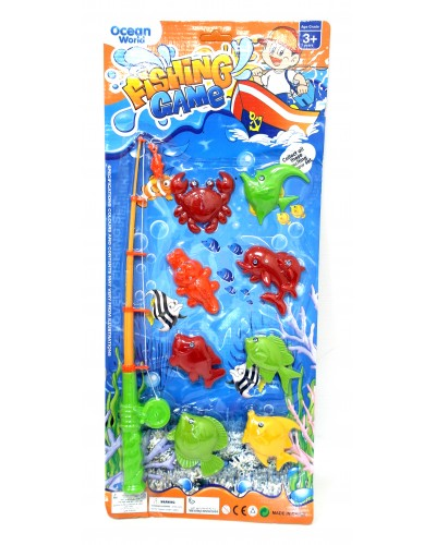 Рыбалка 336-3 2 вида, 2 магнит. удочки, 8 морских животных, на планшетке 57*25см