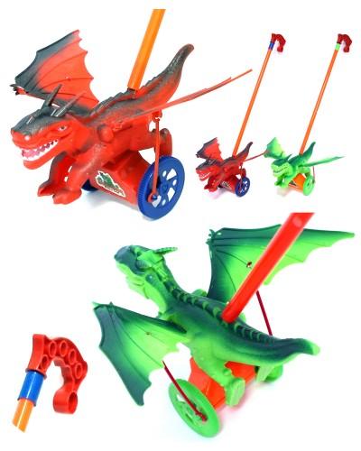Каталочка H-8 динозавр, 2 вида, на палочке, в пакете 21,5*15*15см