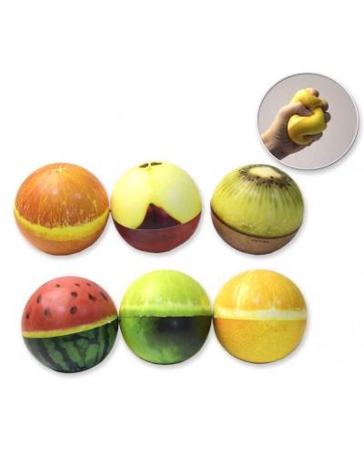Антистресс-сквиш CLR230 шарик-фрукт, 9,5 см, 6 видов, 6 шт в пакете /цена за шт/