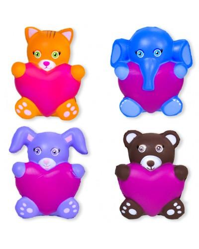 Антистресс-сквиш E27538/39/42/40 животные с сердцем, 4 вида микс, 7*10 см в пакете /цена за шт
