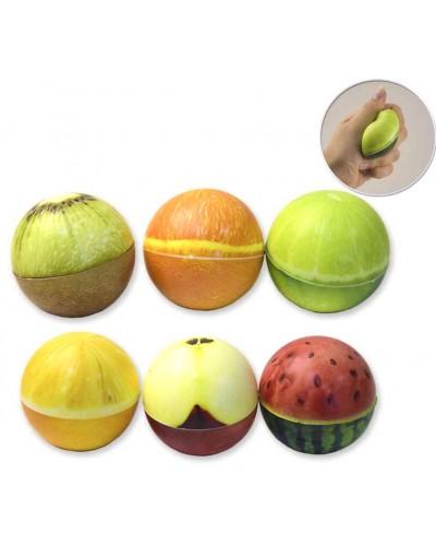 Антистресс-сквиш CLR231 шарик-фрукт, 6 см, 6 видов, 12шт в пакете /цена за шт/