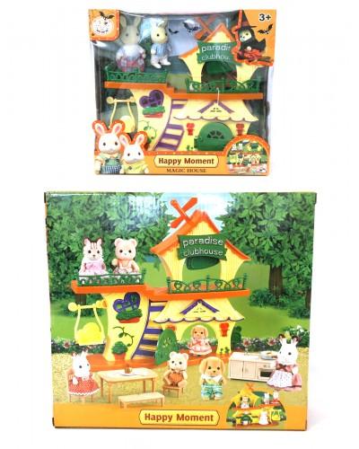 Животные флоксовые B1003 Домик, 2 фигурки, в коробке 30,5*28*9см