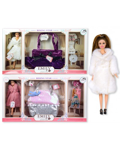 "Кукла  ""Emily"" QJ083A/QJ083B  2 вида, с сумочкой для девочки и аксес. для куклы, в кор. 60*33*6,"