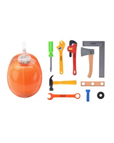 Набор инсрументов 333-1 каска, ключ, молоток, отвертка, топор, в сетке 23*18см