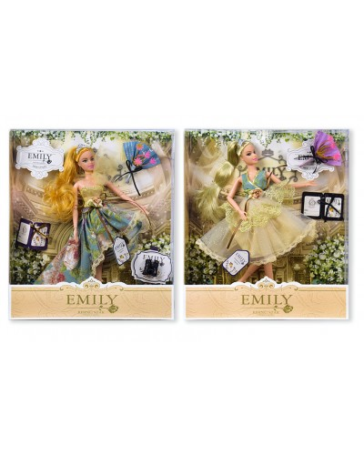 """Кукла """"Emily"""" QJ078/QJ078D  2 вида, с букетом, в кор. 33*28*6см"""