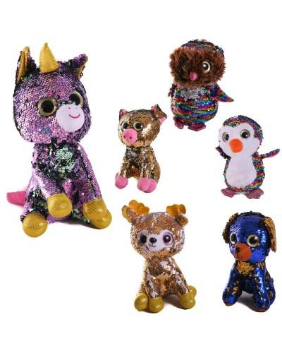 Мягкая игрушка PL1904 глазастики, пайетки, 6 микс, игрушка 23 см
