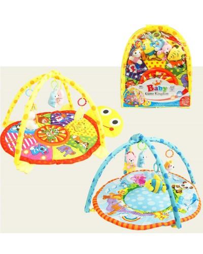 Коврик для малышей 615/620 с мягкими погремушками на дуге, 2 вида, в сумке 62*49*7см