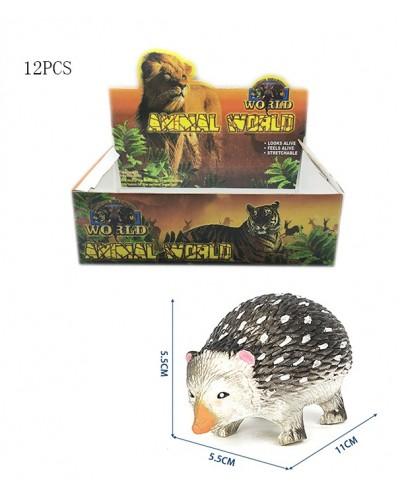 Животные резиновые W6328-225 ежик, по 12шт в боксе /цена за бокс/