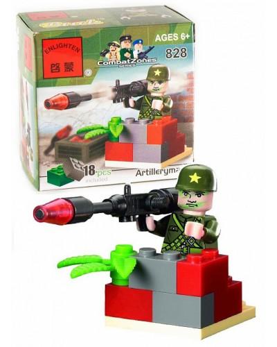 """Конструктор """"Brick"""" 828 """"Артиллерист"""" 18дет., 6+ лет, в разобр. кор. 7*7*4,5см"""