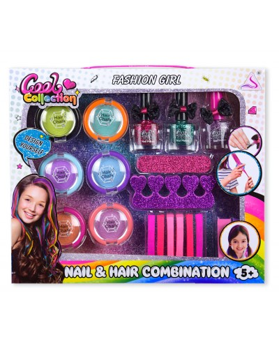 Косметика J-2007 мелки для волос, лаки для ногтей, аксессуары, в кор. 30*4*25,5 см