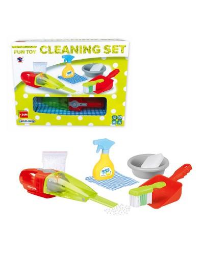Набор для уборки XS-14057 свет-зв, пылесос, веник, совок, миска, моющее, тряпочки. в кор. 40*9,5*31с