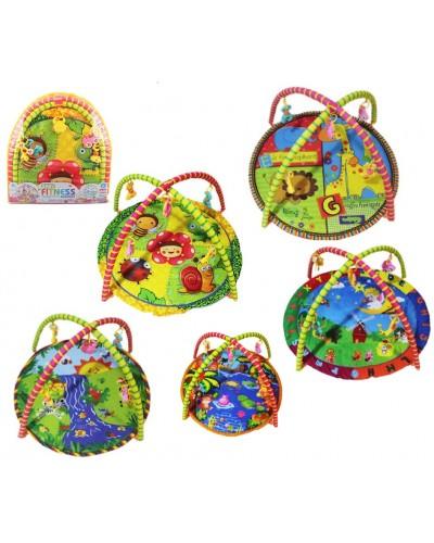 Коврик для малышей 550-1/2/3/4/6 5 микс, с погремушками на дуге, в сумке 63*61см