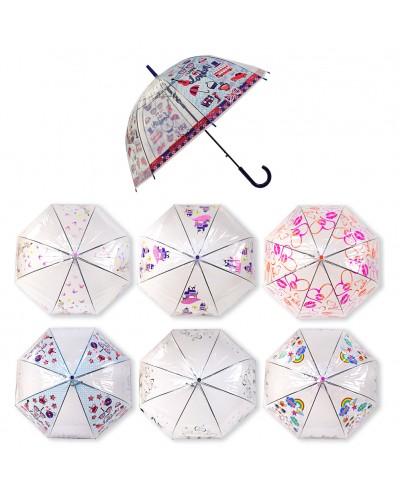 Зонт UM5269 прозрачный, 6 видов, 80 см, материал клеенка