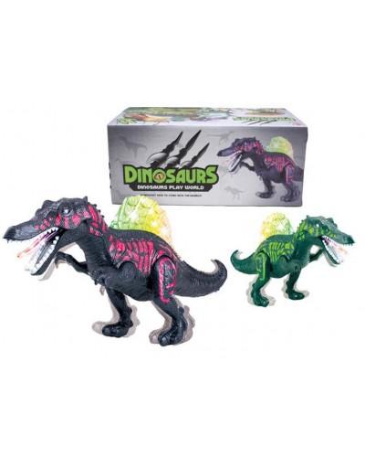 Интерактивное животное KQX-33 Динозавр, 2 цвета, батар., свет, со звуком, ходит, движ. ртом, в кор.