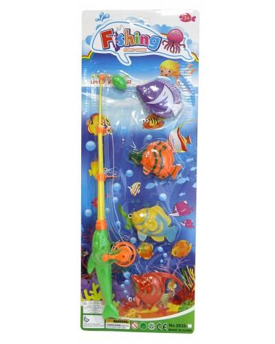 Рыбалка 2035-1 магнит., удочка, 4 рыбки, на планшетке 52*19*6см