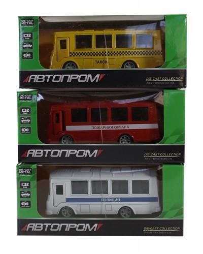 """Автобус  метал 3273 """"АВТОПРОМ"""", 1:32, 3 цвета, откр. двери, в кор.16*7*7см"""