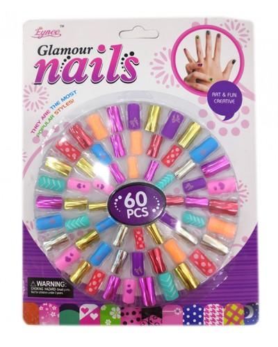 Аксессуары для девочек C3459 ногти - 60 шт, на планшетке 25,3*19.3*1 см