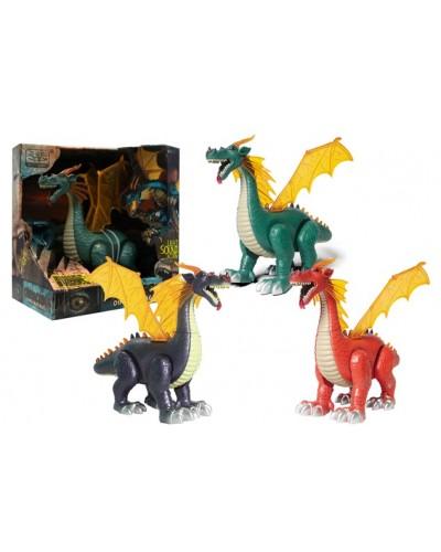 Интерактивное животное WS5308 динозавр, 3 цвета, батар., свет, звук, в коробке 30*19*27см