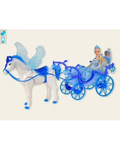 Карета 227A звук, лошадка с крыльями ходит, с куклой, в коробке 55,8*19*30,2 см