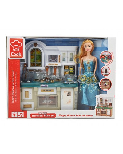 Кухня 3021-2 свет/муз, кукла, мебель, посуда, в кор. 39*10,5*29см