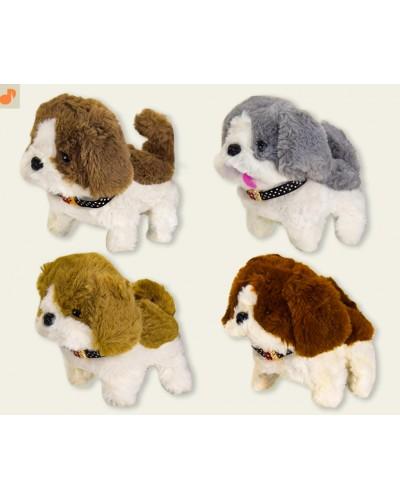 Мягкая игрушка M0665 собачка, 4 цвета, тявкает, ходит, 17 см в пакете