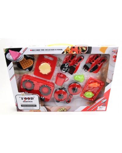 Набор газ. плита 6611D (1773004) кастрюля, сковорода, столов. приборы, продукты, в кор. 55*38*6с
