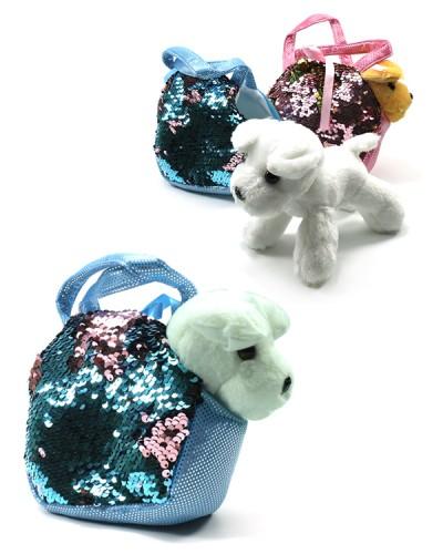 Мягкая игрушка MB106 собачка 20 см, 3 вида,  в сумочке с пайетками 17*13 см, 2 цвета,  в пакете