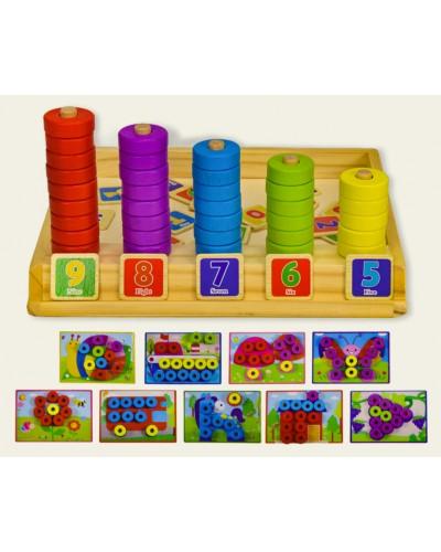 Дерев. игрушка WD2305 вкладиши, пазлы, изучение счета, в коробке 23,5*3,5*22 см