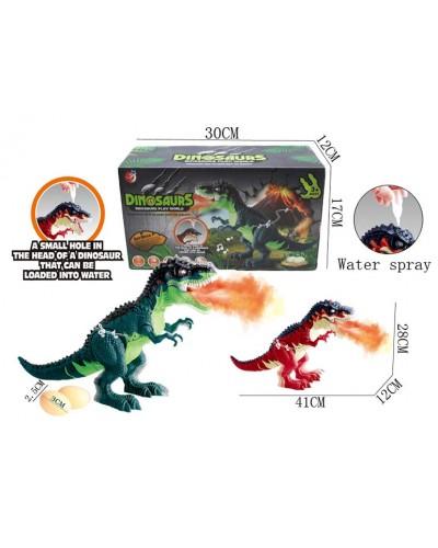 Интерактивное животное KQX-41 Динозавр, 2 цвета, батар., свет, со звуком, функ. пар, в коробке