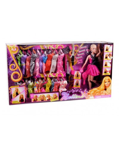 "Кукла типа ""Б"" 68032 набор платьев, аксессуары, в кор. 60*11*33 см"