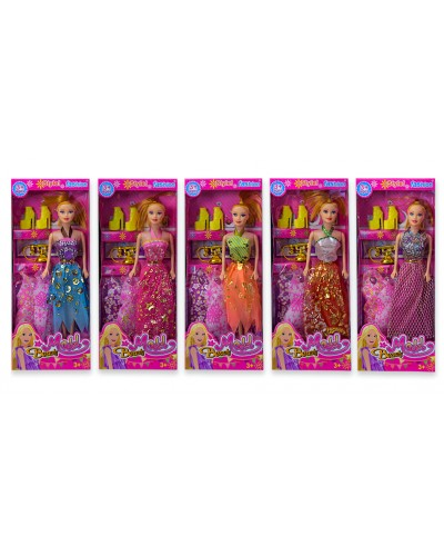 Кукла  5533A-4  5 видов, набор платьев и туфли, телефончик, в кор. 33*4*13 см