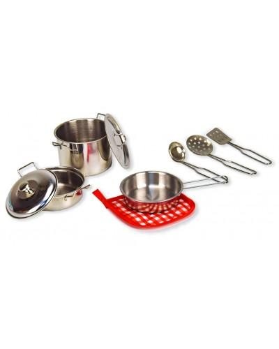 Посуда металл 988-B1 (18780040) кастрюля, сковородка, крышки, лопатки, в кор. 31*11*21см