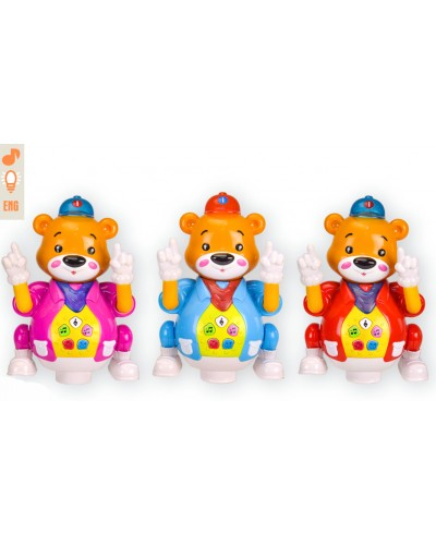 Муз. разв. игрушка BT-2205E медведь, 3 цвета, муз. свет, в коробке 14,5*14,5*24,5см