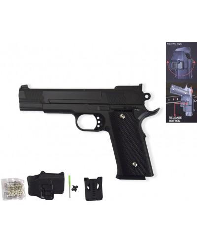 Пистолет метал. пластик G.20+ с пульками, кобурой в коробке 22*15*5см